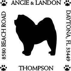 Chow Chow Pet Lover Dog Address Stamp image