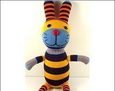 Free Shipping Handmade Sock Rabbit Bunny Stuffed Animal Doll Baby Toys easter gift