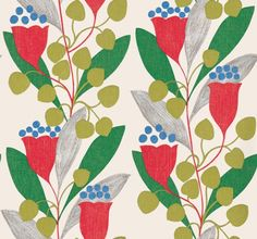 Bellflower (211655) - Sanderson Wallpapers - A bold stencilled pattern of abstract flowers and foliage printed in glowing colours. Shown in the Red/Emerald colourway, bold, green, red and blue on fresh white. Wide width, paste the wall. Please request sample for true colour match.
