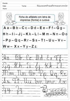 Atividades com Letra Cursiva - Atividades Educativas de Caligrafia Fry Words, Kids English, Calligraphy Alphabet, Prepositions, Sheet Music, Israel, Alice, Nature, Letter J Activities