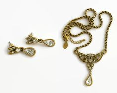 Lavaliere necklace and matching earrings set, large clear crystals in antiqued gold metal setting, box chain, Edwardian style, circa by CardCurios on Etsy Edwardian Style, Edwardian Fashion, How To Look Rich, Twisted Metal, Box Chain, Vintage Jewellery, Clear Crystal, Ear Piercings, Antique Gold