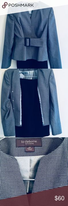 Liz Claiborne skirt suit Perfect condition beautiful skirt suit.  Navy blue small print on jacket with hidden snaps and belted waist, skirt is loose pencil skirt in dark navy blue. Liz Claiborne Liz Claiborne Other