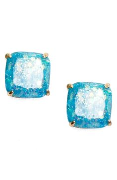 In love with these square stud earrings from Kate Spade. The pop of blue is just too cute!