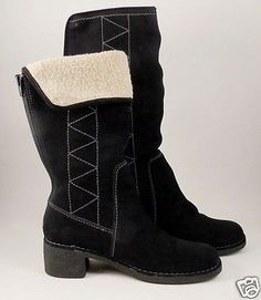 NICKELS-SOFT-Womens-Black-Suede-Winter-Snow-Boots-Size-6-5-Warm
