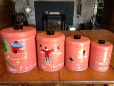 Vintage Metal 4-pc. Canister Set ~ Ransburg Originals Hand Painted, Indianapolis, Made in USA - WANT IT!