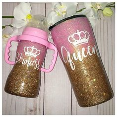 Beautiful mommy and me Queen Princess matching set. The cups may be customized in any color and any design. The glitter is completely sealed with FDA compliant sealer and will not shed or peel. This set includes a one Stainless Steel Tumbler and one S Glitter Cups, Glitter Bottles, Glitter Tumblers, Diy Tumblers, Baby Blog, Tumbler Designs, Baby Bottles, Baby Accessories, Mommy And Me