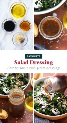 Our favorite salad dressing recipe is a simple vinaigrette made with olive oil, balsamic vinegar, and lemon juice. This salad dressing 5 minutes to whip up and is so flavorful. Best Chicken Salad Recipe, Caprese Salad Recipe, Salmon Salad Recipes, Chopped Salad Recipes, Healthy Baked Chicken, Spinach Salad Recipes, Greek Salad Recipes, Healthy Salad Recipes, Best Salad Dressing