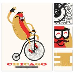 chicago dog Screen Print Poster, Dog Poster, Poster Prints, Art Prints, Chicago Hot Dog, Chicago Style, Chicago City, Illustrations, Illustration Art