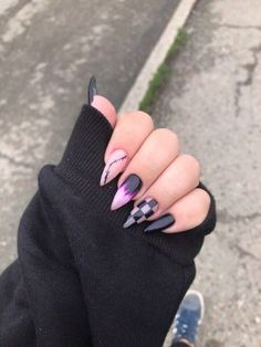 Grunge Nails, Edgy Nails, Aycrlic Nails, Stylish Nails, Trendy Nails, Swag Nails, Cute Nails, Hair And Nails, Long Square Acrylic Nails