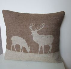Stag & Deer Hessian Cushion in Chestnut by RusticCountryCrafts, $34.00