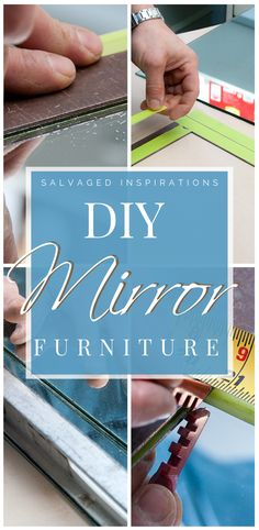 Are you loving this glam mirrored furniture trend? Learning how to cut your own glass and mirror has many benefits. You can create any shape or design and save time and money by re-purposing old mirrors! Diy Mirrored Furniture, Glass Furniture, Furniture Makeover, Diy Furniture, Painted Furniture, Glam Mirror, Mirror Room, How To Cut Mirror, Bob The Builder