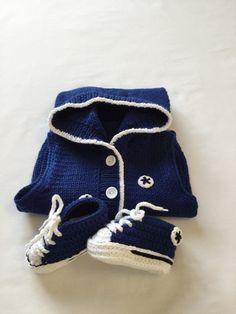 Royal Blue Crochet Converse Style Baby Booties by BabyJaneKnits