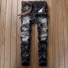 Homme simple Taille Normale Micro-élastique Jeans Chino Pantalon,Jeans  Chino Couleur Pleine de 49ea98166240