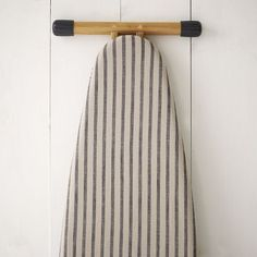 West Elm Cotton Ironing Board Cover, Chef Stripe - Gray and other furniture & decor products. Browse and shop related looks. Farmhouse Ironing Boards, Ironing Board Covers, Farmhouse Laundry Room, Basement Laundry, Laundry Closet, Laundry Room Drying Rack, Laundry Room Storage, Laundry Room Design, Crafting