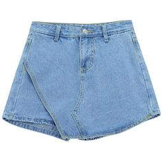 Chicnova Fashion Asymmetric Denim Shorts (210 ARS) ❤ liked on Polyvore featuring shorts, blue, bottoms, asymmetrical shorts, blue denim shorts, zipper shorts, blue jean short shorts and jean shorts