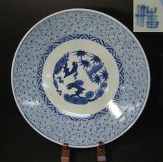 A971 Real Japanese Old Imari Blue and White Porcelain Mijin Karakua Big Plate | eBay