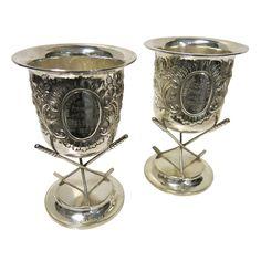 Rare Pair Of Antique Irish Golfing Trophies. Sterling Silver. Check our website www.EstateSilver.com