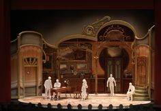 "Die Fledermaus at Maryland Opera Studio, 1/4"" Scale Model, Scenic Design by Paige Hathaway. www.paigehathawaydesign.com"