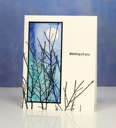 Glimpse of twigs Heather Telford - Penny Black Magic of the Season stamp Penny Black Cards, Penny Black Stamps, Paint Cards, Watercolor Cards, Watercolour, Maker, Winter Cards, Sympathy Cards, Greeting Cards Handmade