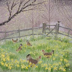 Lucy Grossmith. The joys of hens outside ( sadly, fox and mink got mine ) but it's such a happy painting. Almost could be an Easter pin, but I think can be enjoyed all year