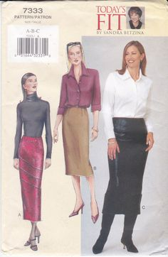 Vogue Sewing Pattern 7333 Straight Skirt Today's Fit by Ziatacraft
