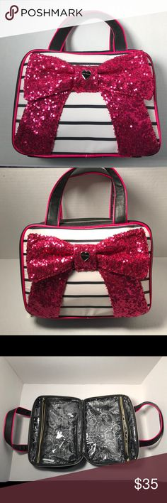✈️Betsey Johnson Travel Case ❤️ ✈️ Betsey Johnson  Weekender cosmetic travel bag🏝 Big pink sequins bow🎀 131/2 x12 inch's  Brand new / never used  Took off tags then put in Storage because as moving .  Hot pink/ black and white Betsey Johnson Bags Cosmetic Bags & Cases