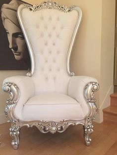 Modern Baroque Rococo Furniture and Interior Design- Gryphon Reine Chair – Silver & White Leatherette – Client Photo Rococo Chair, Baroque Furniture, Home Furniture, Furniture Chairs, Room Chairs, Business Furniture, Furniture Online, Furniture Outlet, Office Chairs