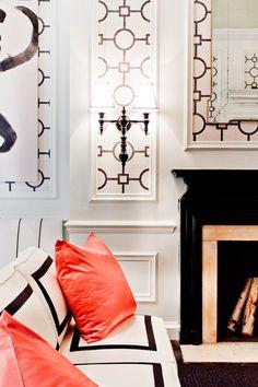 Hickory Chair Paint: Pratt & Lambert, Wallcovering: Phillip Jeffries, Dunes & Duchess sconces, Swank Lighting lamps, Tobi Fairley Home, Schumacher, Duralee, Michael Savoia of Villa Savoia embroidery.