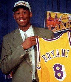 Kobe Bryant - Draft day selected by Charlotte Hornets and traded to LA Lakers Ali Michael, Michael Jordan, Chuck Norris, Jimi Hendrix, John Lennon, Bob Marley, Beatles, Basket Nba, Nike Motivation