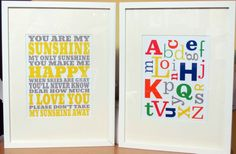 Nursery Wall Art Prints in Primary Colours