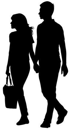 Holding Hands Couple_Silhouette PNG Clip Art Image