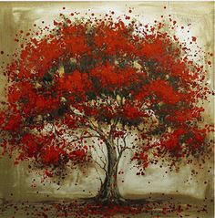 hand painted large modern square canvas art cheap tree landscape oil painting on canvas red wall art picture for home decoration Cheap Canvas Art, Canvas Art Prints, Canvas Wall Art, Oil Painting Flowers, Oil Painting Abstract, Painting Trees, Tree Paintings, Red Wall Art, Tree Canvas