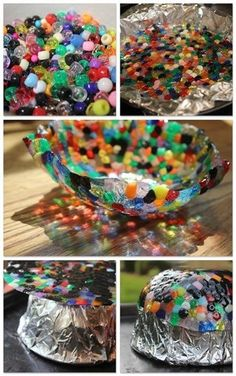 Pony Bead Bowl Items Needed: Tin Foil Pony Beads Oven Safe Bowl Cake Pan Cookie Sheet Preheat oven to 400 degrees Cover the inside of a cake pan with tin foil Lay down pony beads 1 bead thick around. Cute Crafts, Crafts To Make, Crafts For Kids, Arts And Crafts, Stick Crafts, Homemade Crafts, Felt Crafts, Melted Bead Crafts, Pony Bead Crafts
