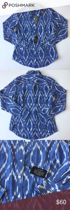 J.Crew Shirt 👇PLZ READ THE COMPLETE DESCRIPTION BEFORE COMMENTING! Thank u!👇  NWT Size: 4 Retail: $88 J.Crew perfect fit Color may be slightly different bcz of lighting  🍀Price is FIRM unless bundled!🍀 ❌Trades ❌Holds All sales r final Welcome product-related questions! Ur responsible for ur size. J. Crew Tops Button Down Shirts
