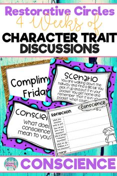 Conduct restorative and community circles in your classroom with these ready to use templates that are full of questions, discussion topics and ideas that can be used during circle time. This product stems around the character trait of conscience and includes discussion questions, scenarios and/or act it out activities. Click the link below to have your students listening, discussing and learning from each other! #restorativecircles #charactertraits #circletime #charactereducation