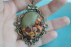 Golden rose necklace polymer clay necklace by twocatsboutique