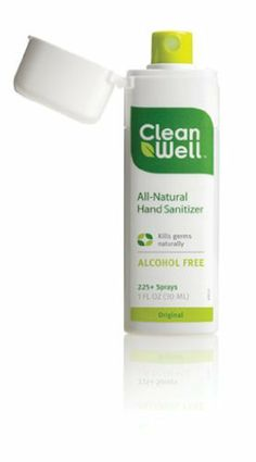Cleanwell All-Natural Hand Sanitizer Original Scent, Pocket Size, 1-Ounce Spray Bottles (Pack of 6) by Cleanwell, http://www.amazon.com/dp/B001G7PQM8/ref=cm_sw_r_pi_dp_Q0lVqb00VP2C9
