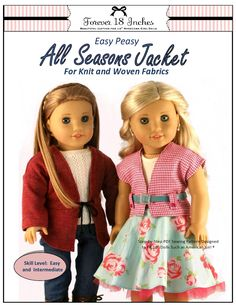 Forever 18 Inches Easy Peasy All Season Jacket Doll Clothes Pattern 18 inch American Girl Dolls | Pixie Faire