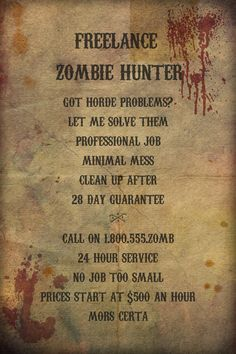 Certificate of achievement in zombie by amaranthasashes on etsy freelance zombie hunter poster print 8x12 by theseldomseenfox 500 yadclub Choice Image