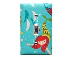 Mermaid Light Switch Plate Cover / Nautical Girl Bathroom Bedroom Decor /  Aqua Pink Blue /