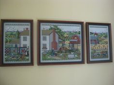 Cross Stitched Tryptic. Amish farm scene OMG!  I did this one! I made it in one whole piece though.