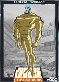 Luthor - Brainiac-Brainiac reemergiu no declínio da Liga da Justiça com ele… Justice League Villain, Justice League Animated, Lois Lane, Apocalypse, Wonder Twins, Cosmic Art, Arte Dc Comics, Comic Poster, Bruce Timm