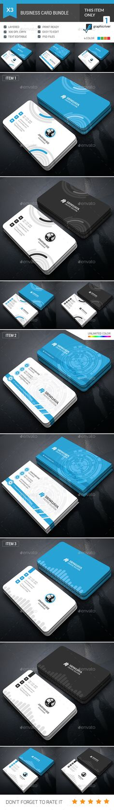 Business Card Bundle — Photoshop PSD #psd #personal • Available here → https://graphicriver.net/item/business-card-bundle/17892887?ref=pxcr