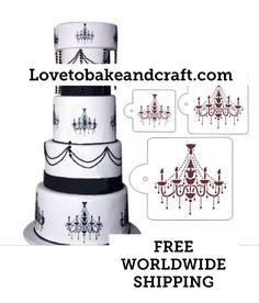 Wedding cake stencil cake stencil 4 tier stencil engagement cake cake stencil chandelier stencil chandelier cake stencil wedding cake stencils cake decorating stencil 4 piece set aloadofball Image collections