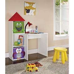 Bright, colorful, and supremely functional, the Altra Furniture Castlebrook Kids Desk features three bookcase cubby storage areas on each. Kids Storage Units, Storage Bins, Kids Playroom Furniture, Furniture Decor, Children Furniture, Playroom Ideas, Colorful Desk, Kids Castle, Kids Play Table