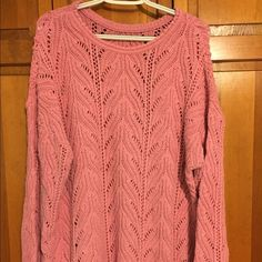 Dusty Rose pink tunic length sweater Cute with leggings or skinny jeans, boots and a scarf!  No tags but it is a large.  Bottom has scalloped edge (see last pic).  There is a little pilling on the underside of the sleeves. Sweaters Crew & Scoop Necks