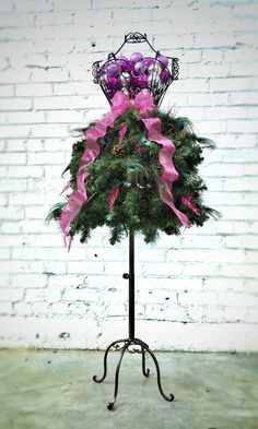 Dress Form Christmas Tree with Peacock Feathers - Premium Style #2