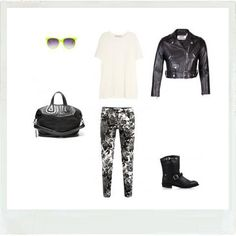 Look's idea with this basic White Tee, this Leather Jacket and these Black Motor Boots. Stella Mccartney floral print skinny jeans, Givenchy black medium tote, Matthew Williamson neon yellow sunglasses...