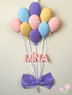 Ebrar'ın Keçeleri - Keçe Tasarım Ürünleri: Mina Bebeğin Balon Demeti Kapı Süsü