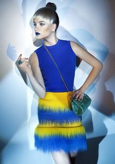 Couture skirt Palvin Barbara faux fur special mini skirt in blue & yellow